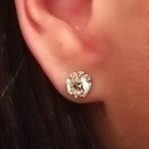 Silver round simulated solitaire diamond Earrings